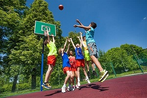 We are playing basketball