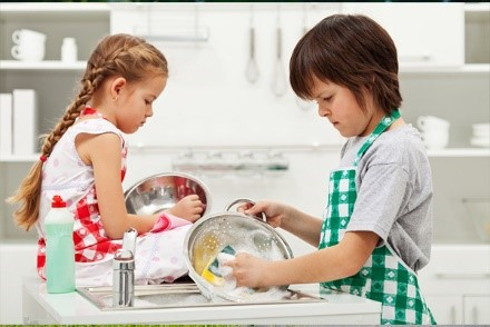 We are washing the dishes