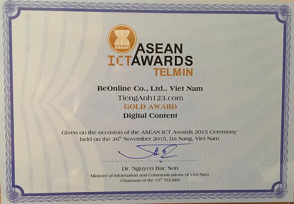 Tiếng Anh 123 đạt giải nhất ASEAN ICT AWARDS 2015