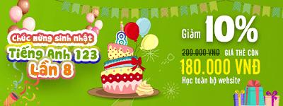 Chương trình khuyến mại sinh nhật Tiếng Anh 123 lần thứ 8
